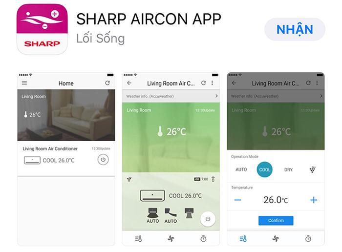 Cài đặt ứng dụngSHARP AIRCON APPvào điện thoại của bạn, có trên cảAppstorevàGoogle Play.