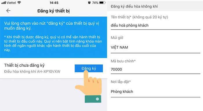 Mở ứng dụng đã cài đặt trên điện thoại, đăng nhập tài khoản Sharp ID vừa đăng kí, chọn biểu tượng bên góc trái trên cùng trong ứng dụng, sau đó chọnđăng kí thiết bị.