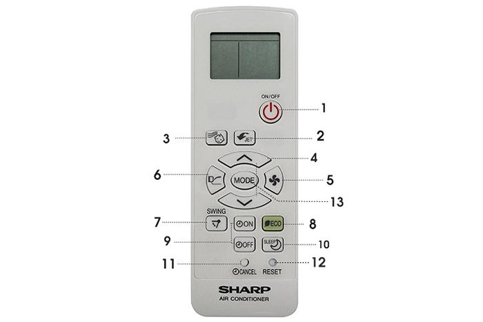 Bảng nút của remote điều hòa Sharp